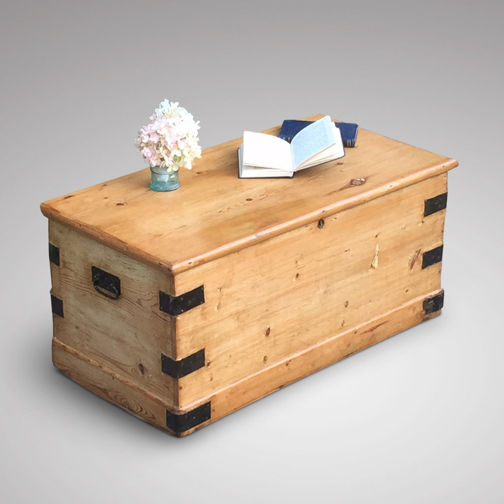 Victorian Pine Blanket Chest - Front and Side View- 1