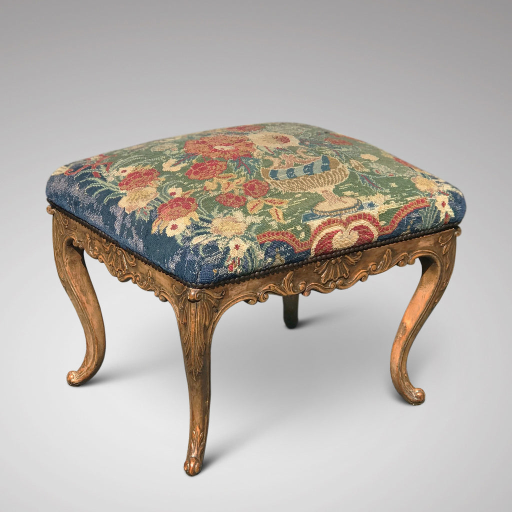 Carved Walnut Stool with Original Needlework Upholstery - Main View - 2