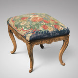 Carved Walnut Stool with Original Needlework Upholstery - Main View - 1
