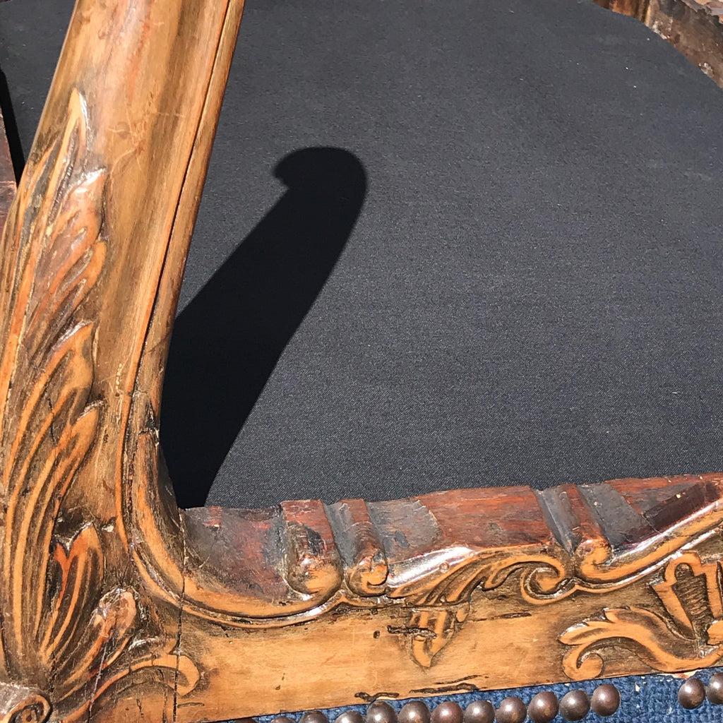 Carved Walnut Stool with Original Needlework Upholstery - Detail View - 6