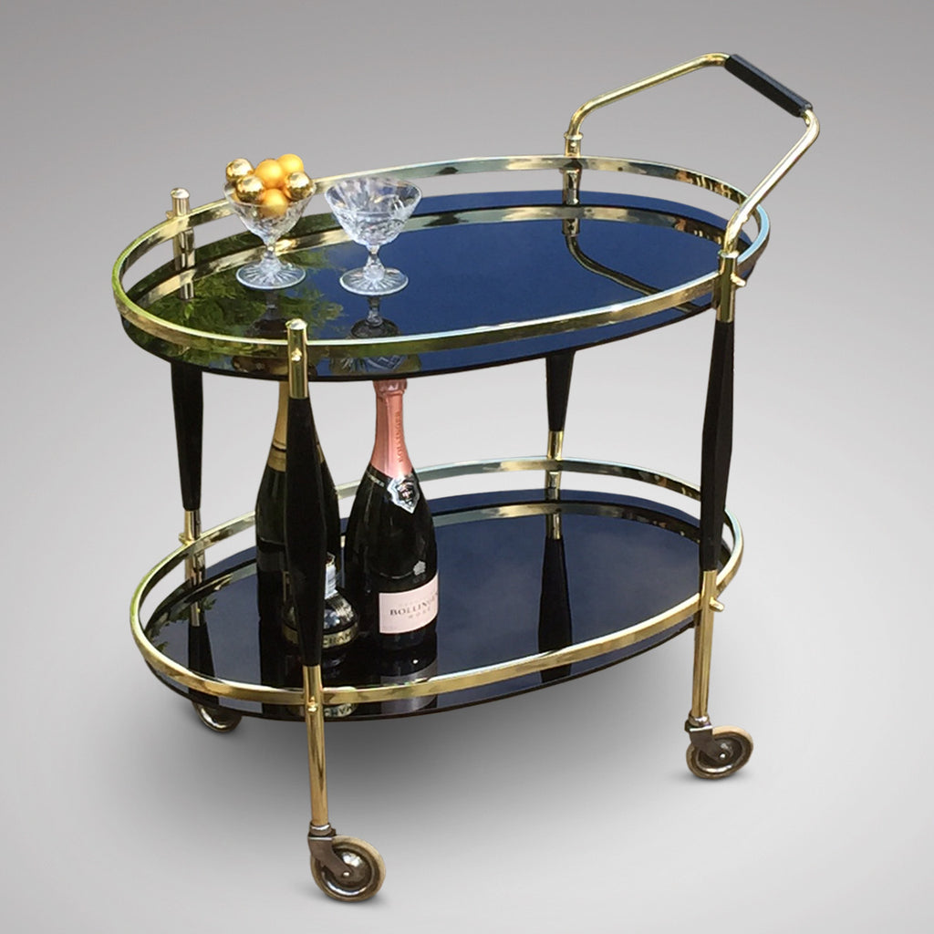 Art Deco Brass Drinks Trolley/Bar Cart - Side Trolley View - 2