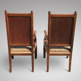 Pair of Oak Arts & Crafts Armchairs - View of chair backs - 6
