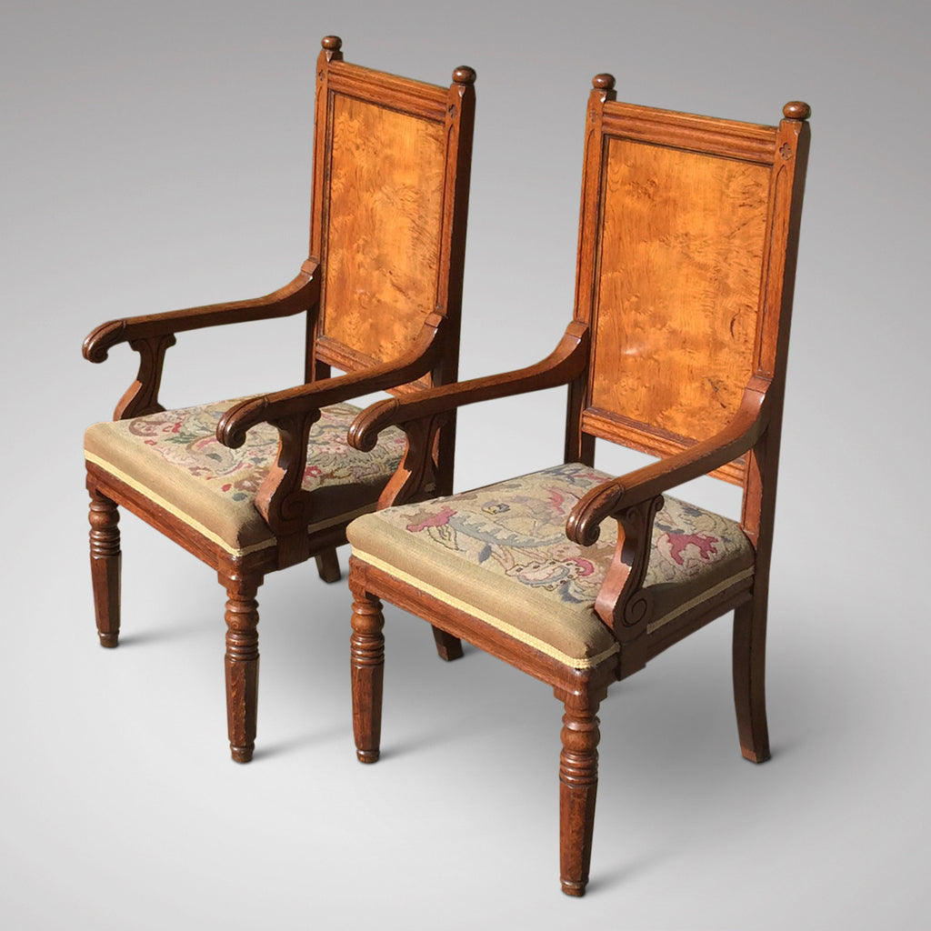 Pair of Oak Arts & Crafts Armchairs - Side view - 2
