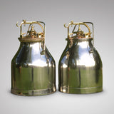 Pair of Polished Steel, Copper & Brass Milk Buckets- Front View - 1