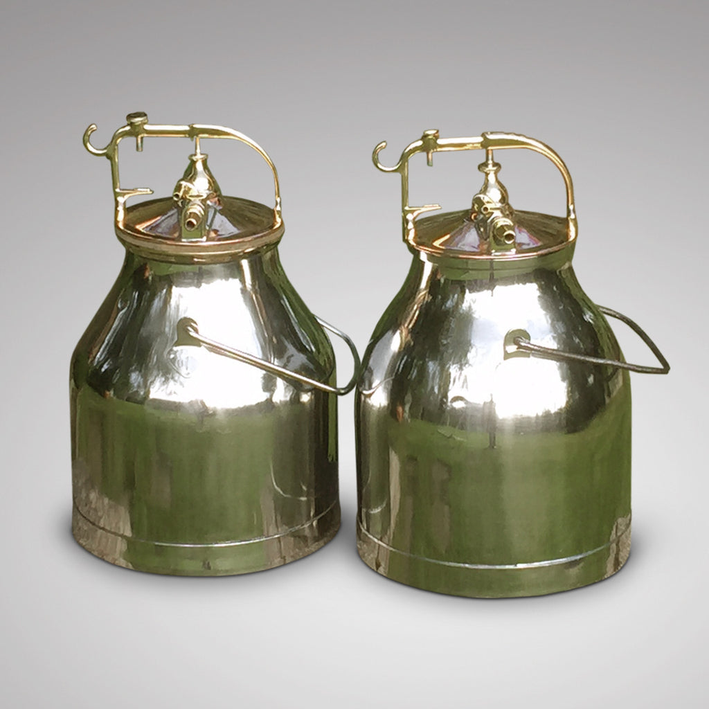 Pair of Polished Steel, Copper & Brass Milk Buckets -Front View - 2