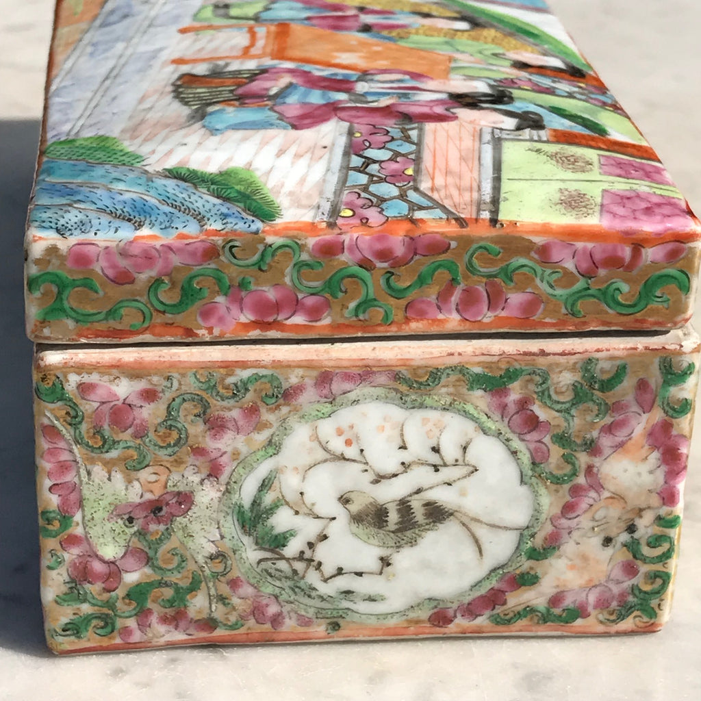 19th Century Chinese Famille Rose Pen Box & Cover - Side View - 4