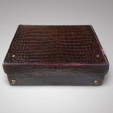 Edwardian Crocodile Leather Dressing Case - Back & top of case- 7
