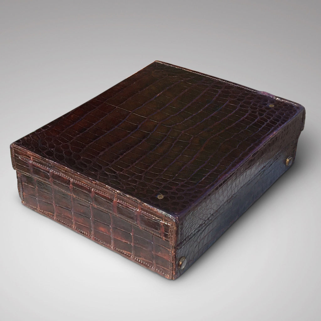 Edwardian Crocodile Leather Dressing Case - Hobson May Collection - 3