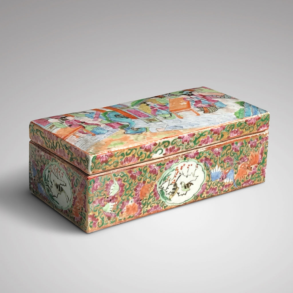 19th Century Chinese Famille Rose Pen Box & Cover - Main View - 1