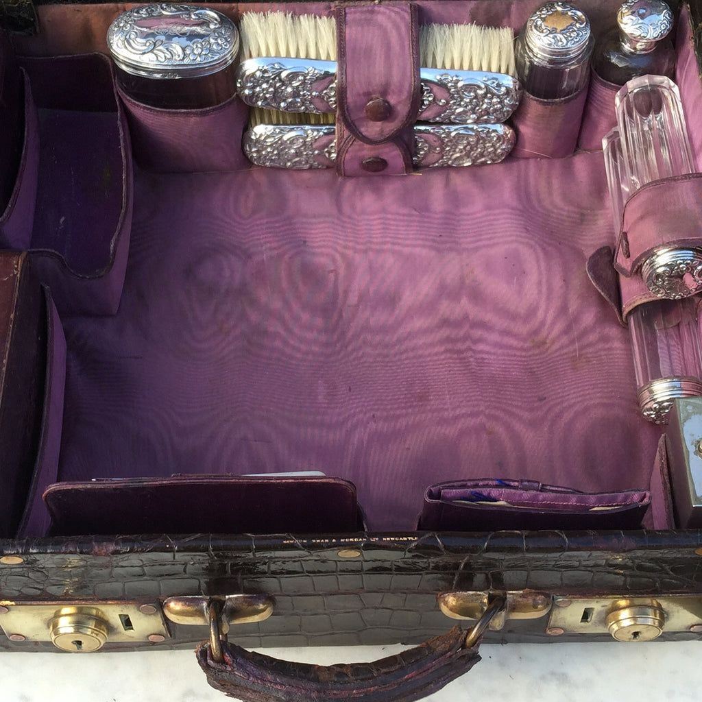 Edwardian Crocodile Leather Dressing Case - Hobson May Collection - 12