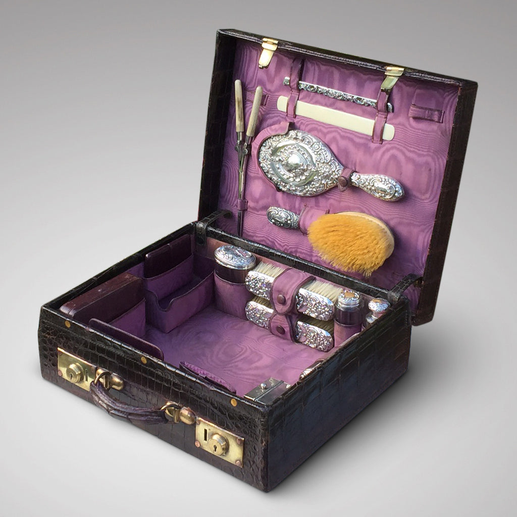Edwardian Crocodile Leather Dressing Case - Hobson May Collection - 5