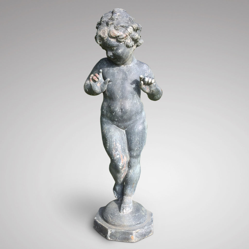 Antique Lead Garden Statue of a Nymph - Front View of Figure - 1