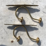 Pair of Victorian Brass Hat & Coat Hooks - Side View - 2