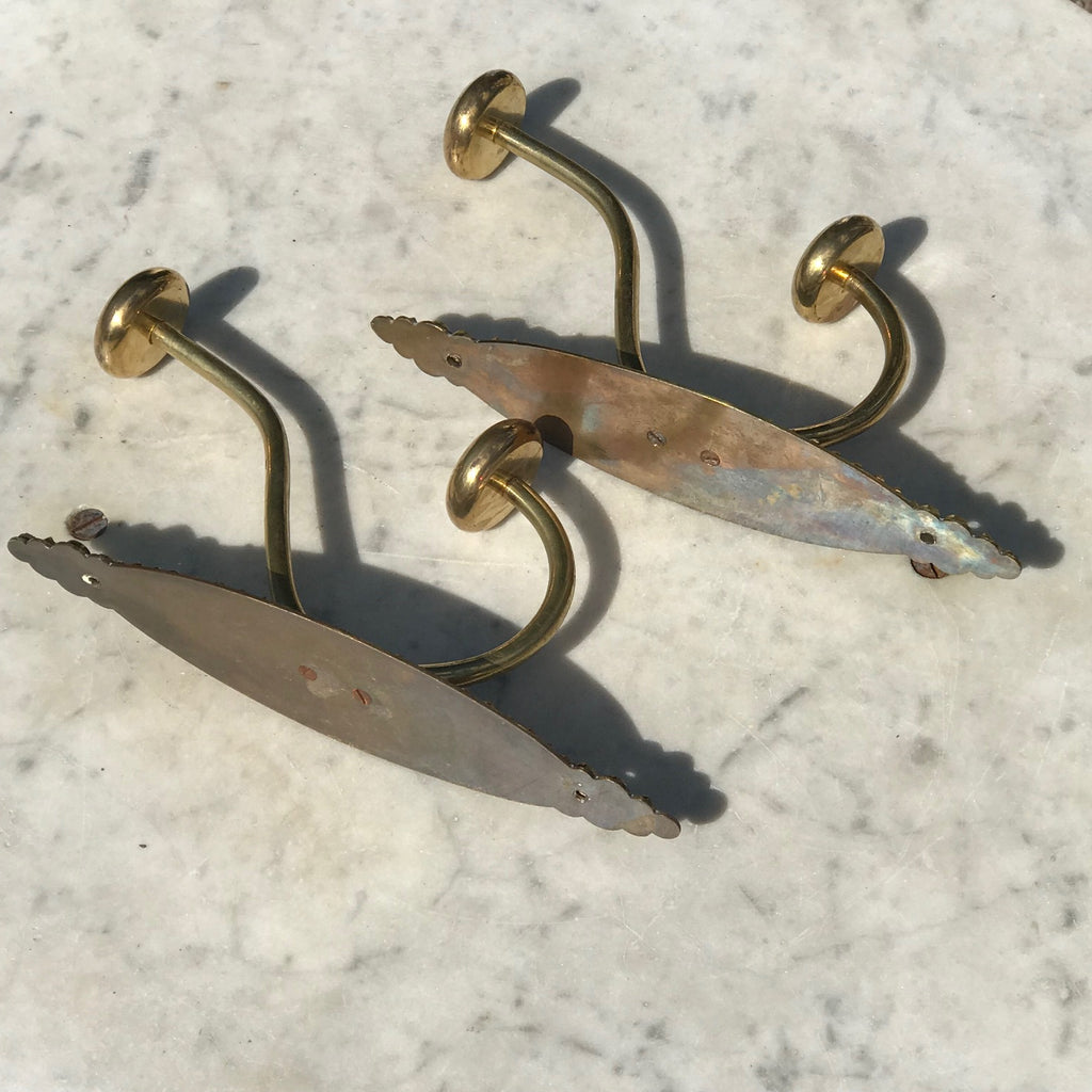 Pair of Victorian Brass Hat & Coat Hooks - Back & Side View - 4