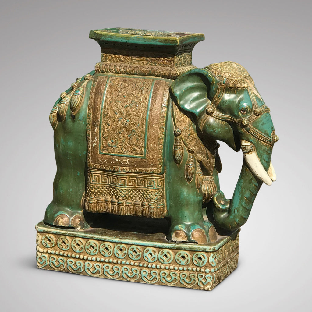 Early 20th Century Oriental Elephant Garden Seat - Side View - 1