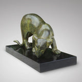 Art Deco Sculpture of a Lioness Drinking - Front View of Sculpture- 3