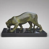 Art Deco Sculpture of a Lioness Drinking - Back View of Sculpture- 2