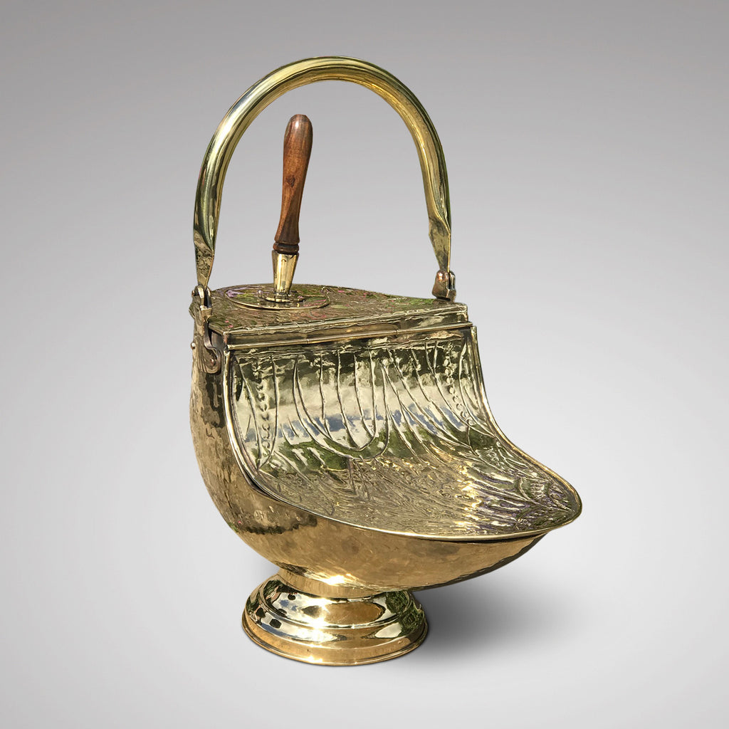 19th Century Brass Coal Scuttle - Front View - 3