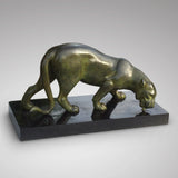 Art Deco Sculpture of a Lioness Drinking - Front View of Sculpture- 1