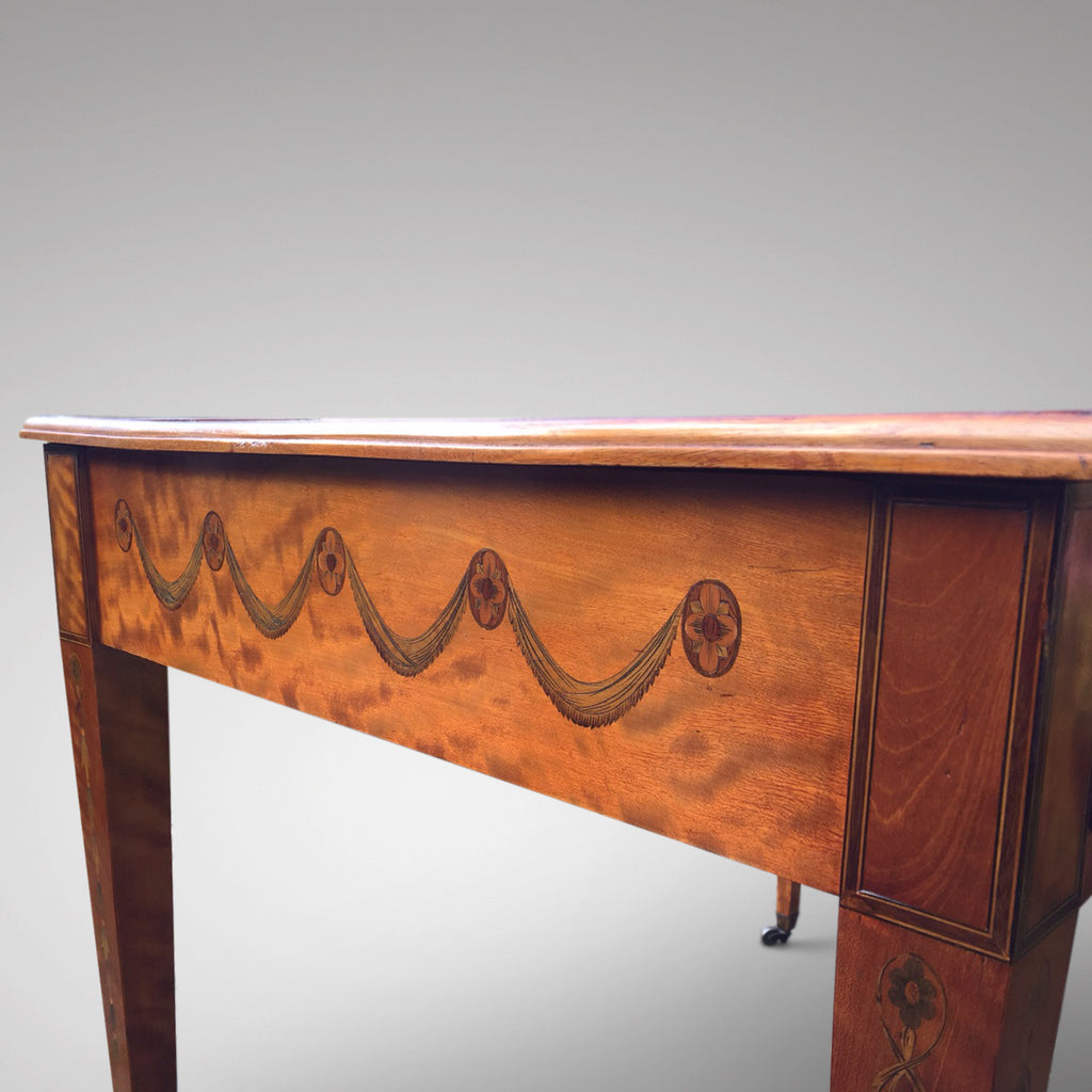 George III Satinwood Library Table - Detail of side inlay - 6