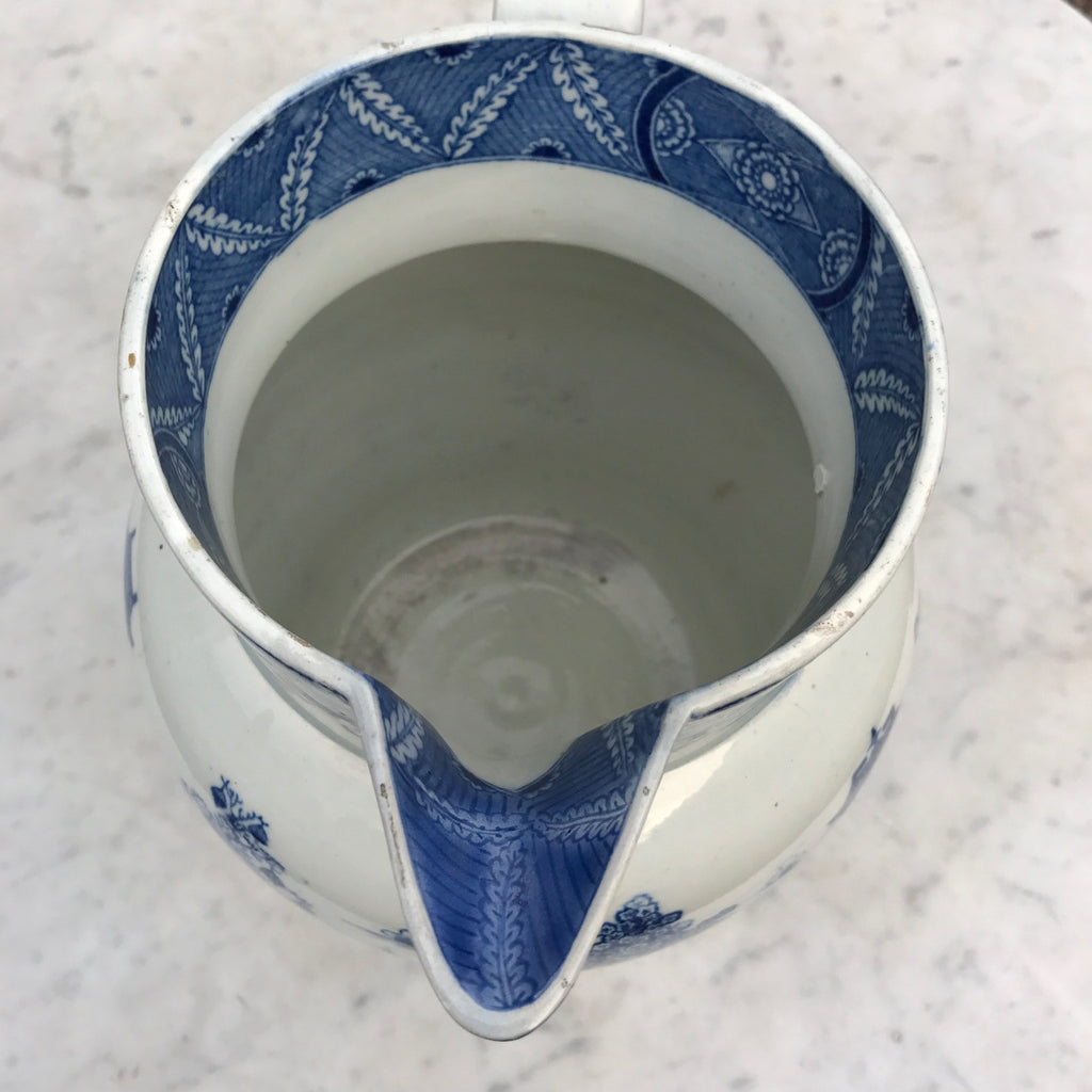Large 19th Century Pearlware Blue & White Jug - Spout & Rim View- 4