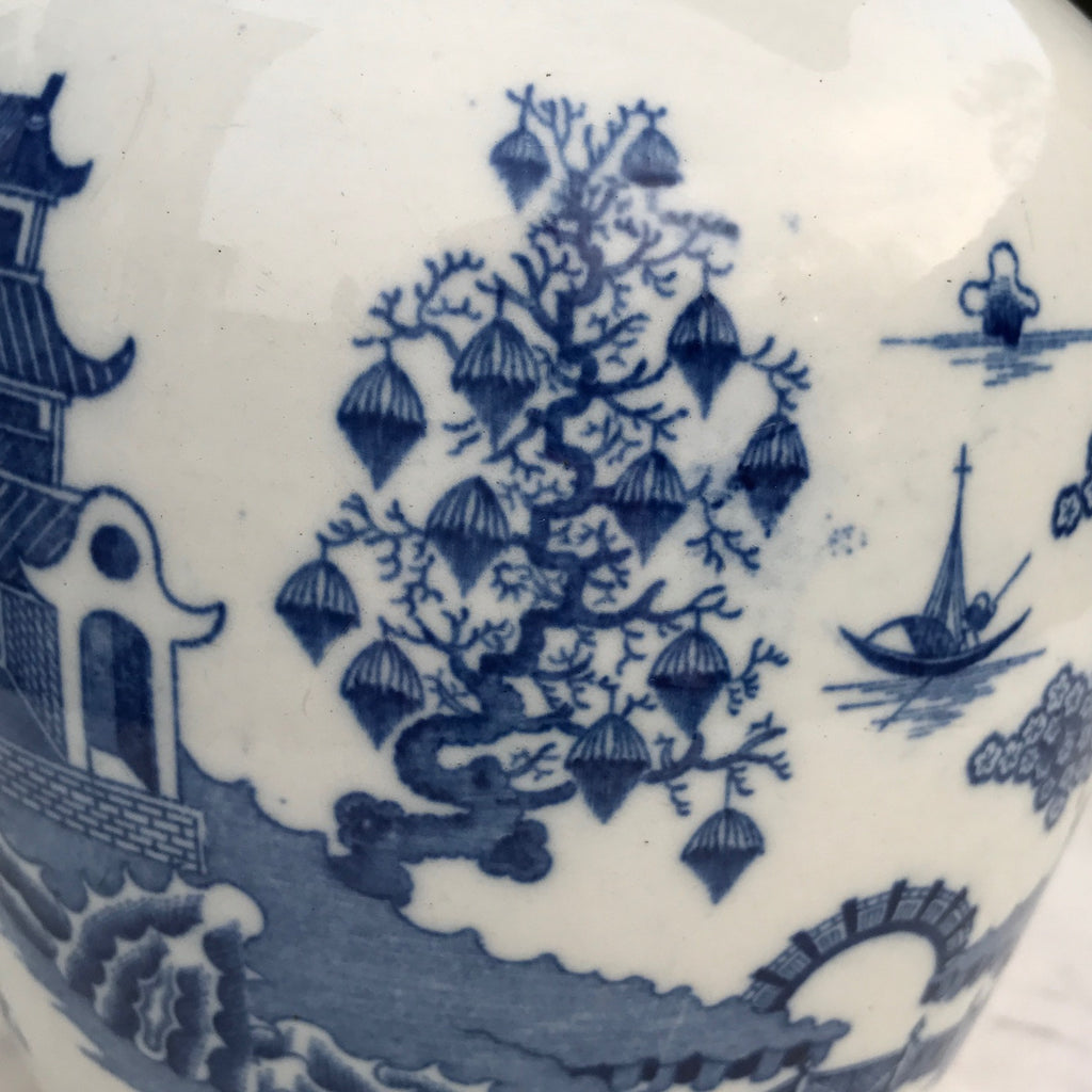 Large 19th Century Pearlware Blue & White Jug - Pattern Detail View  - 7