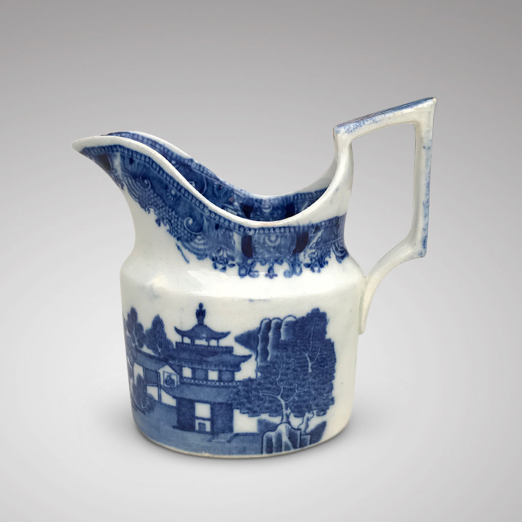 Small 19th Century Blue & White Chinoiserie Pattern Jug -Side View - 2