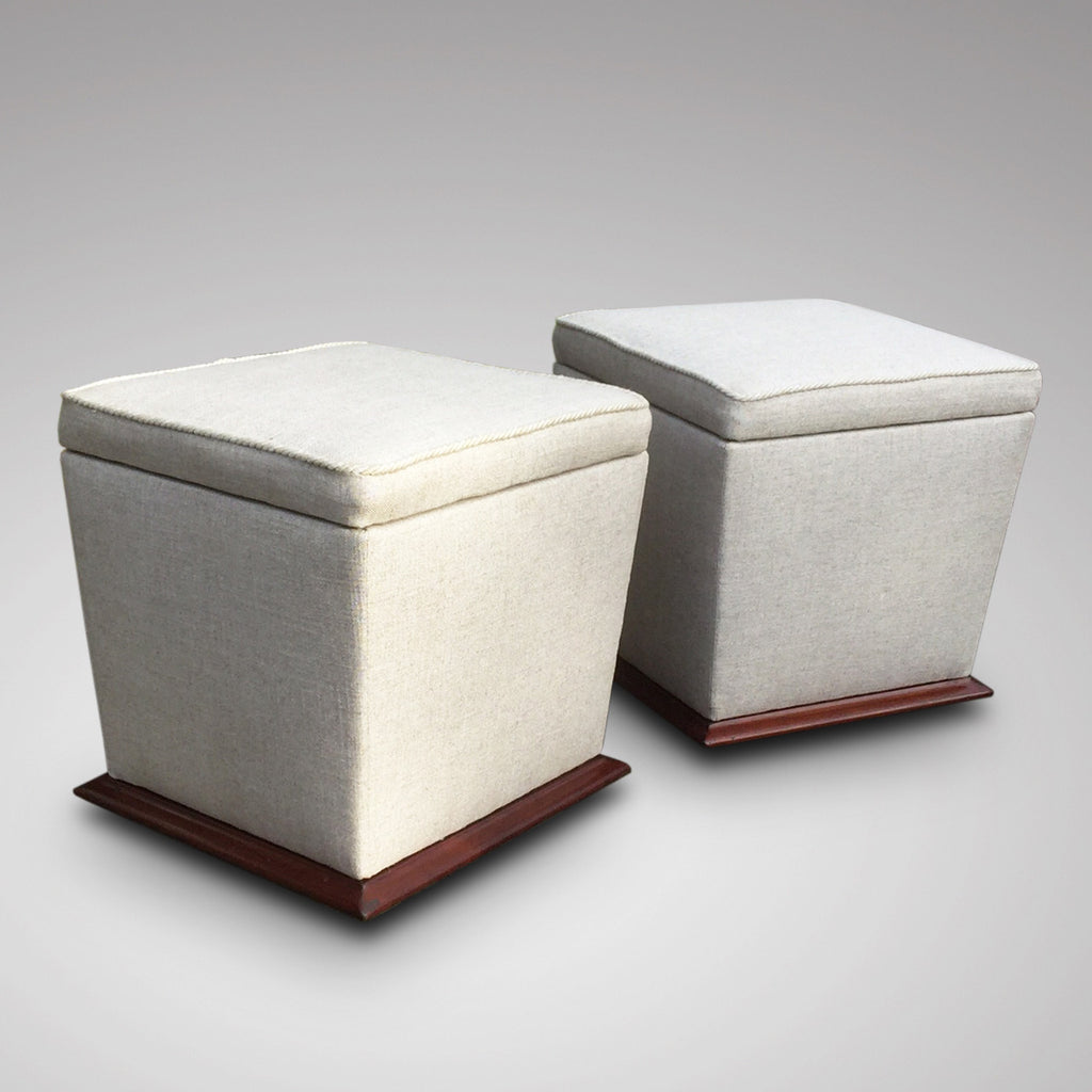 Pair of Victorian Upholstered Mahogany Stools - Front & Side View- 2
