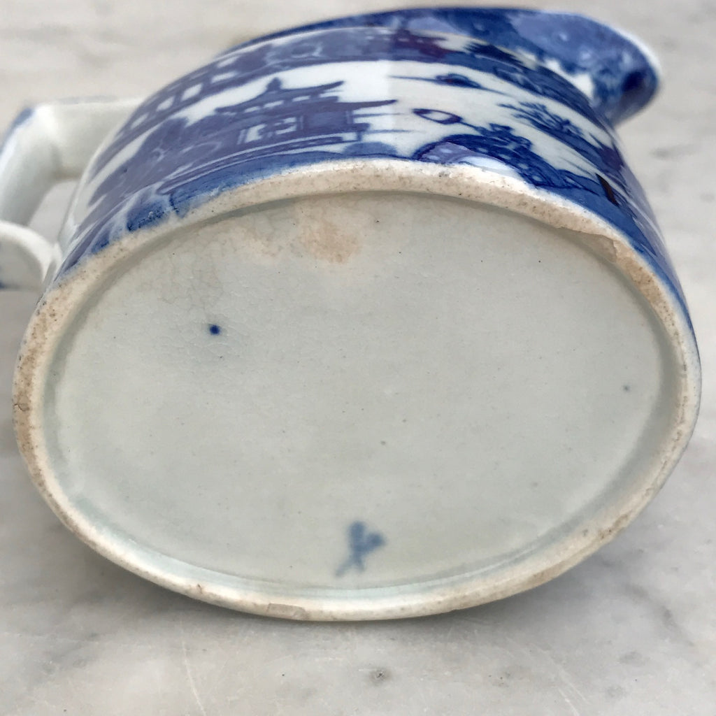 Small 19th Century Blue & White Chinoiserie Pattern Jug - Underside View - 6