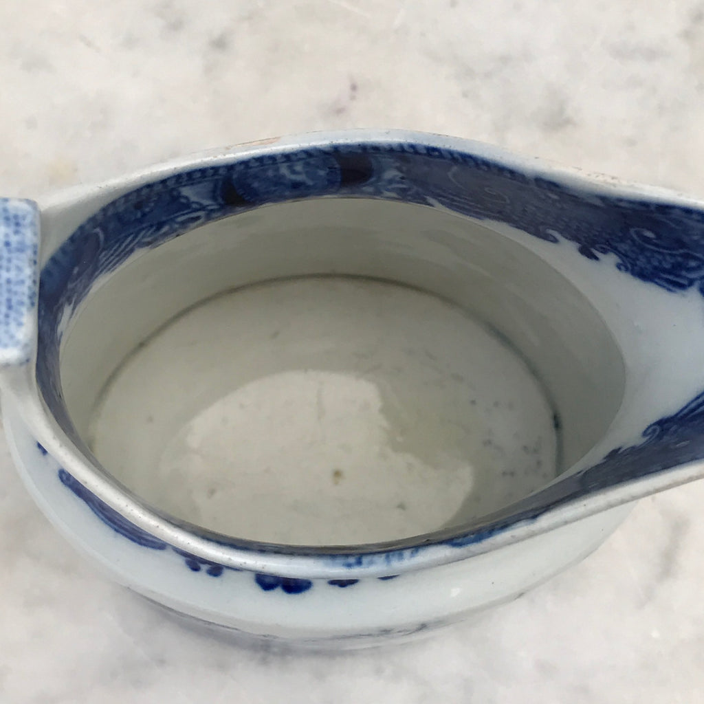 Small 19th Century Blue & White Chinoiserie Pattern Jug - Inside View - 4