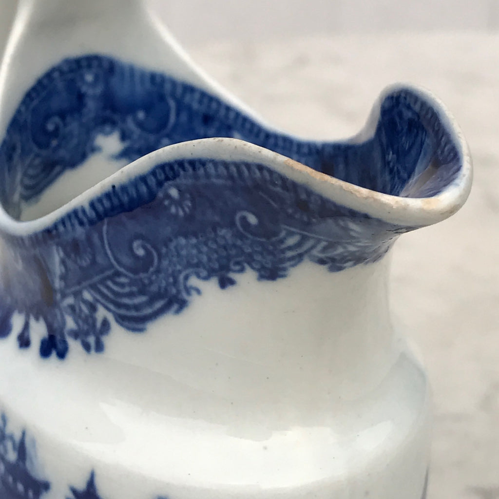 Small 19th Century Blue & White Chinoiserie Pattern Jug - Detail of Spout - 3