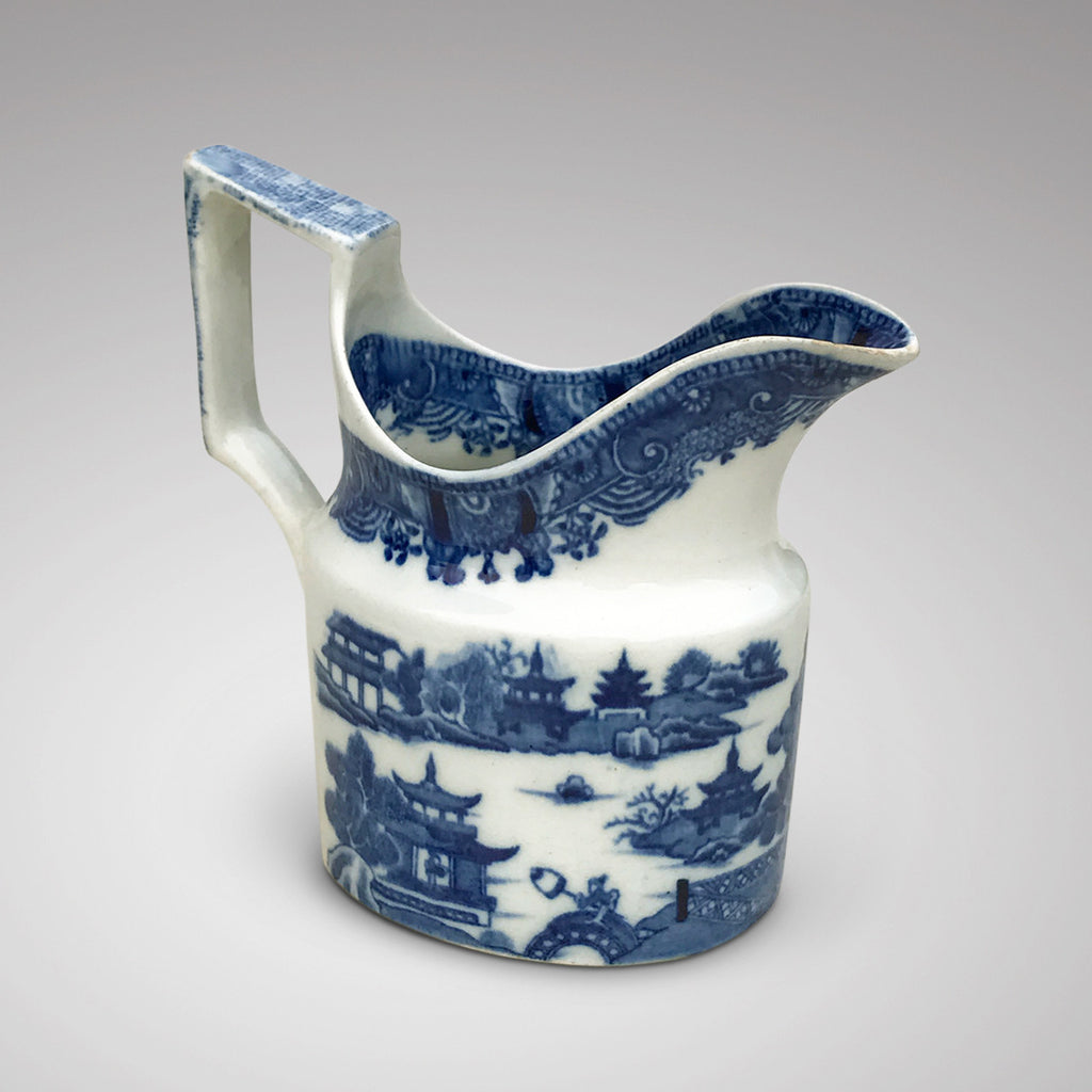 Small 19th Century Blue & White Chinoiserie Pattern Jug - Side View - 1