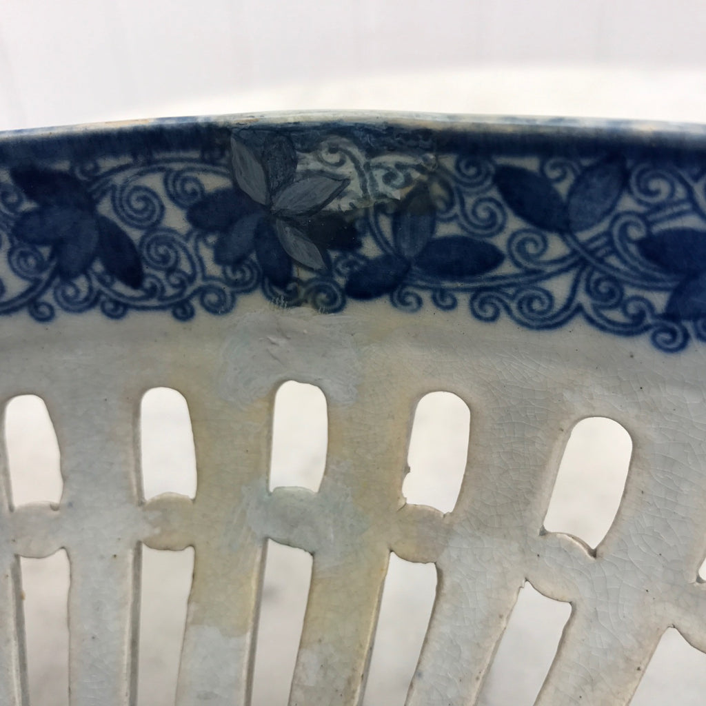 Georgian Blue & White Chestnut Basket- Side Detail -7
