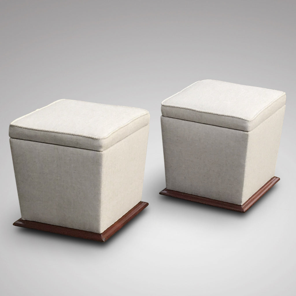 Pair of Victorian Upholstered Mahogany Stools- front View - 1