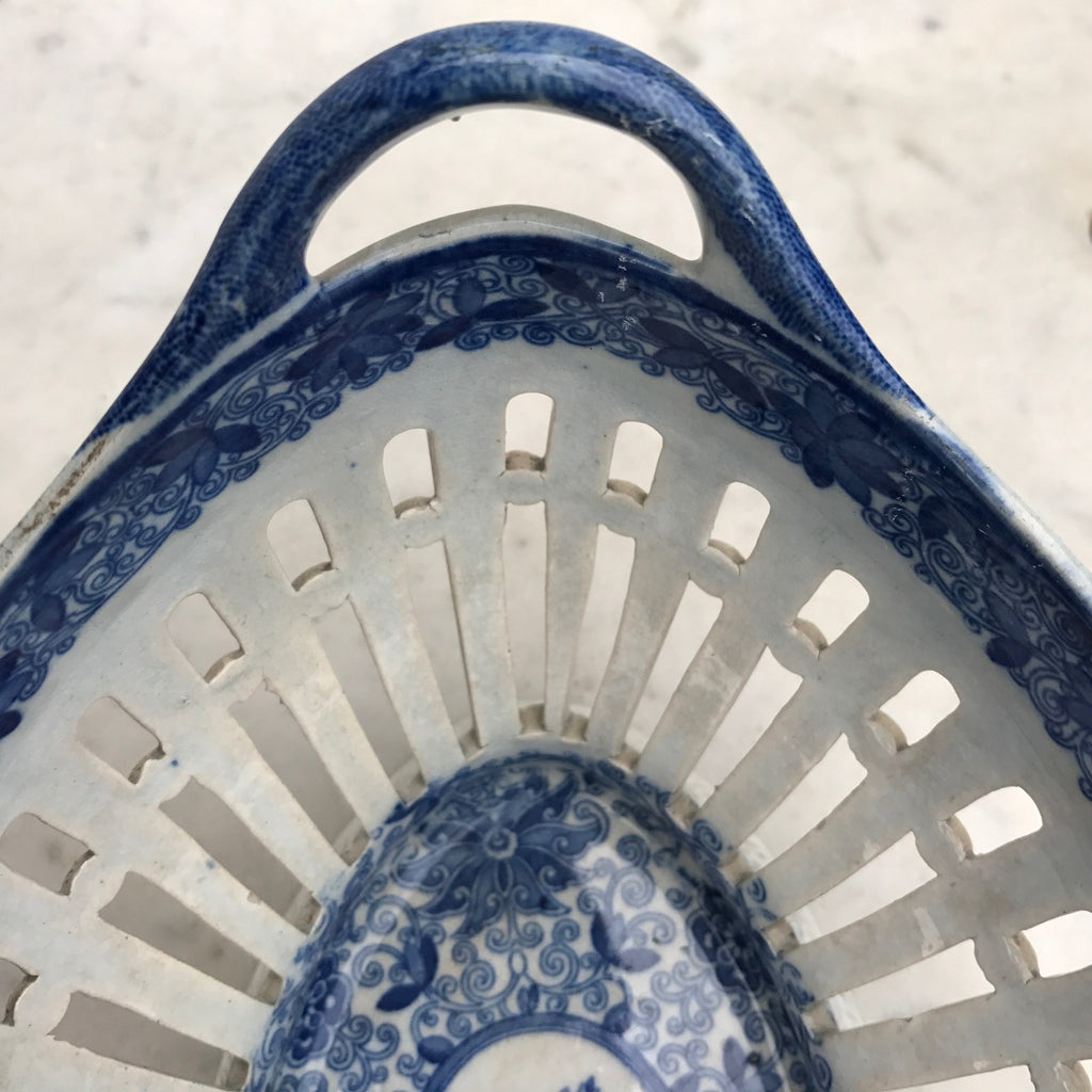 Georgian Blue & White Chestnut Basket - Handle Detail- 8