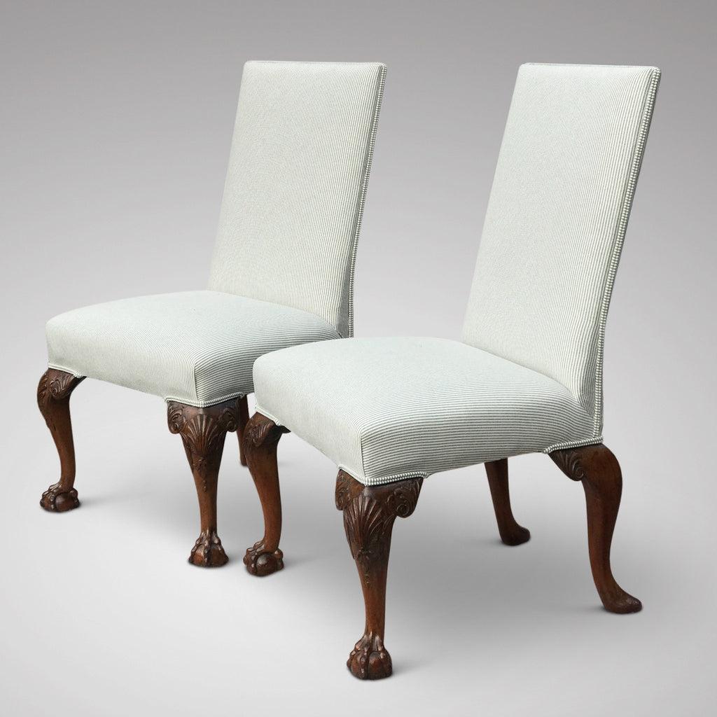 Pair of George II Style Side Chairs -Front & Side View-1