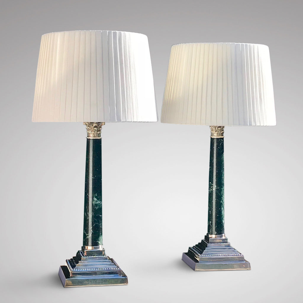 Pair of Early 20th Century Marble Lamps in the Corinthian Style - Main View -1