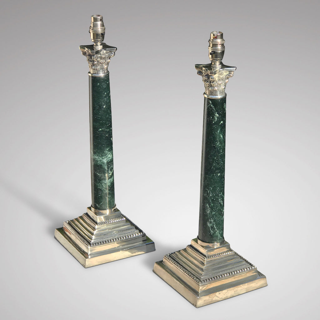 Pair of Early 20th Century Marble Lamps in the Corinthian Style - Side View - 3