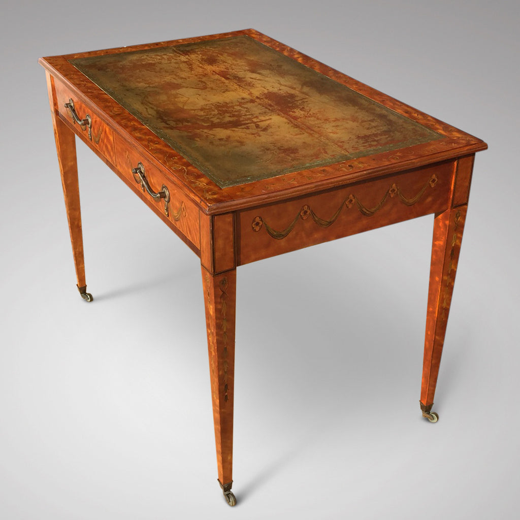 George III Satinwood Library Table - View of side & leather top - 5