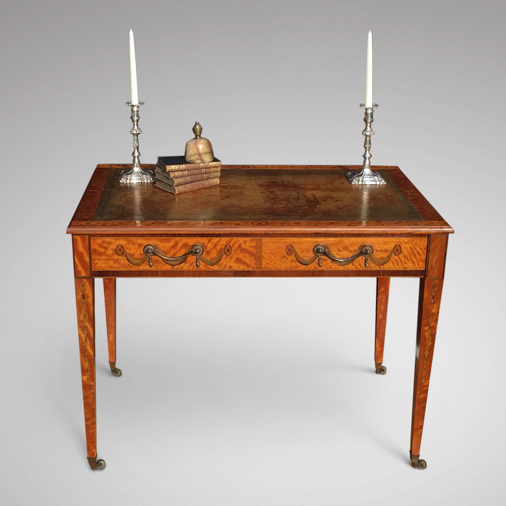 George III Satinwood Library Table - Main front view - 1