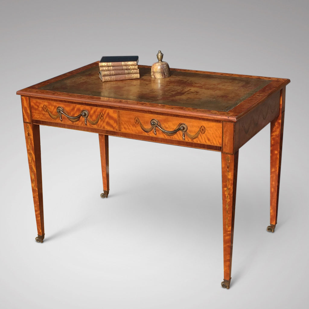 George III Satinwood Library Table - Front and side view- 2