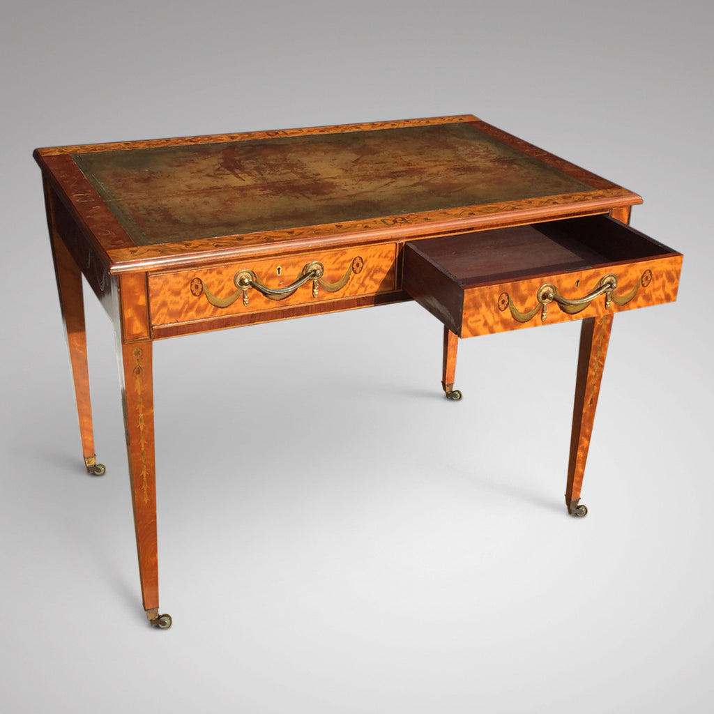 George III Satinwood Library Table - View of open drawer - 4