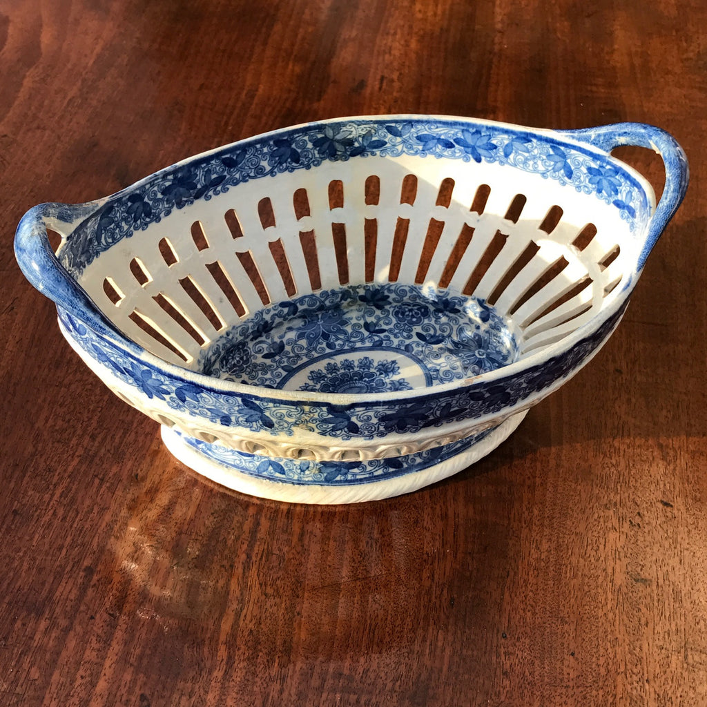 Georgian Blue & White Chestnut Basket - Angle View - 3