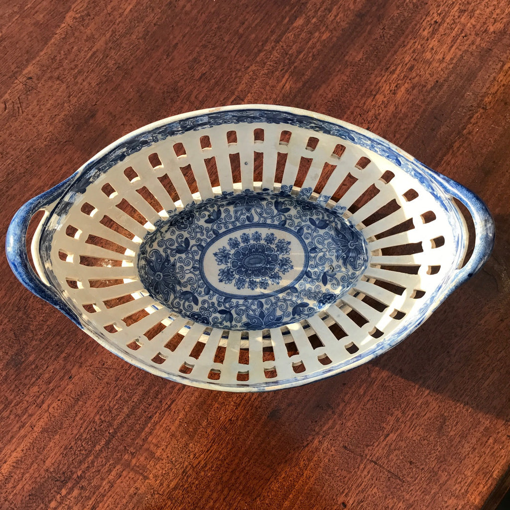 Georgian Blue & White Chestnut Basket - Overhead View -4