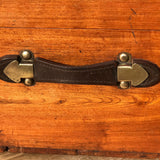 19th Century Teak Cabin Trunk/Coffee Table-Leather Handle Detail-9