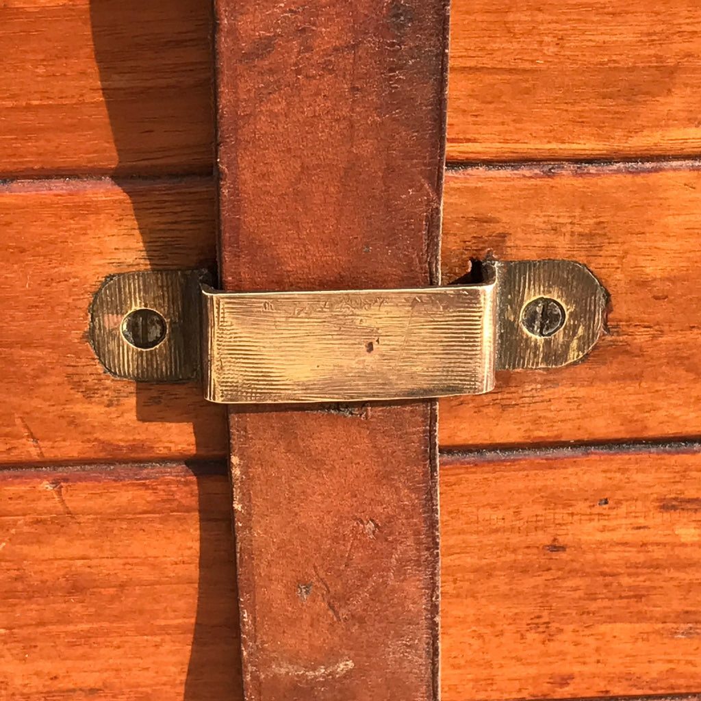 19th Century Teak Cabin Trunk/Coffee Table- Strap Detail View-4