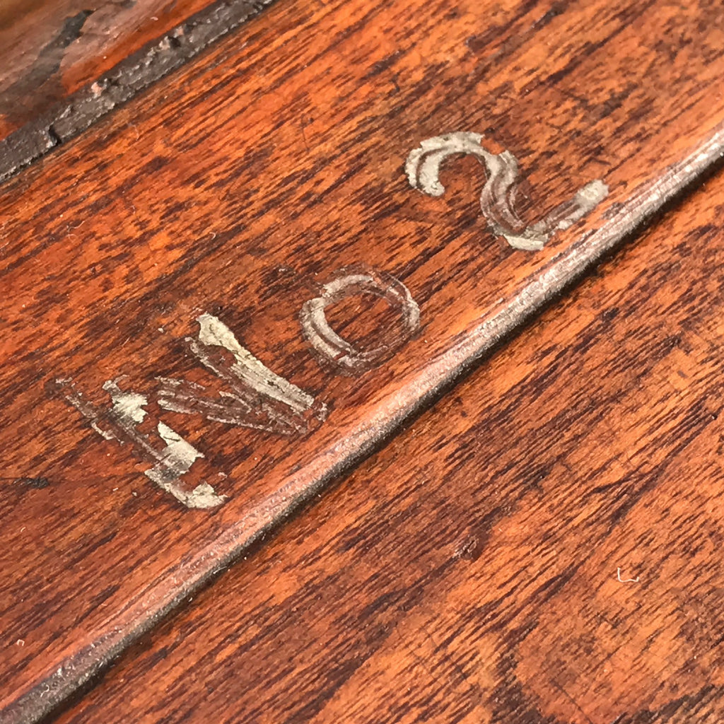 19th Century Teak Cabin Trunk/Coffee Table- Painted Detail-5