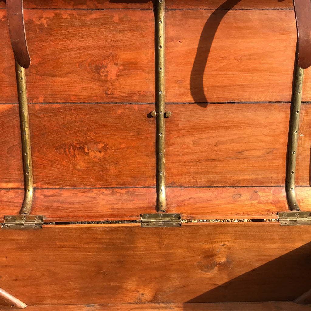 19th Century Teak Cabin Trunk/Coffee Table- Inside Detail View-7