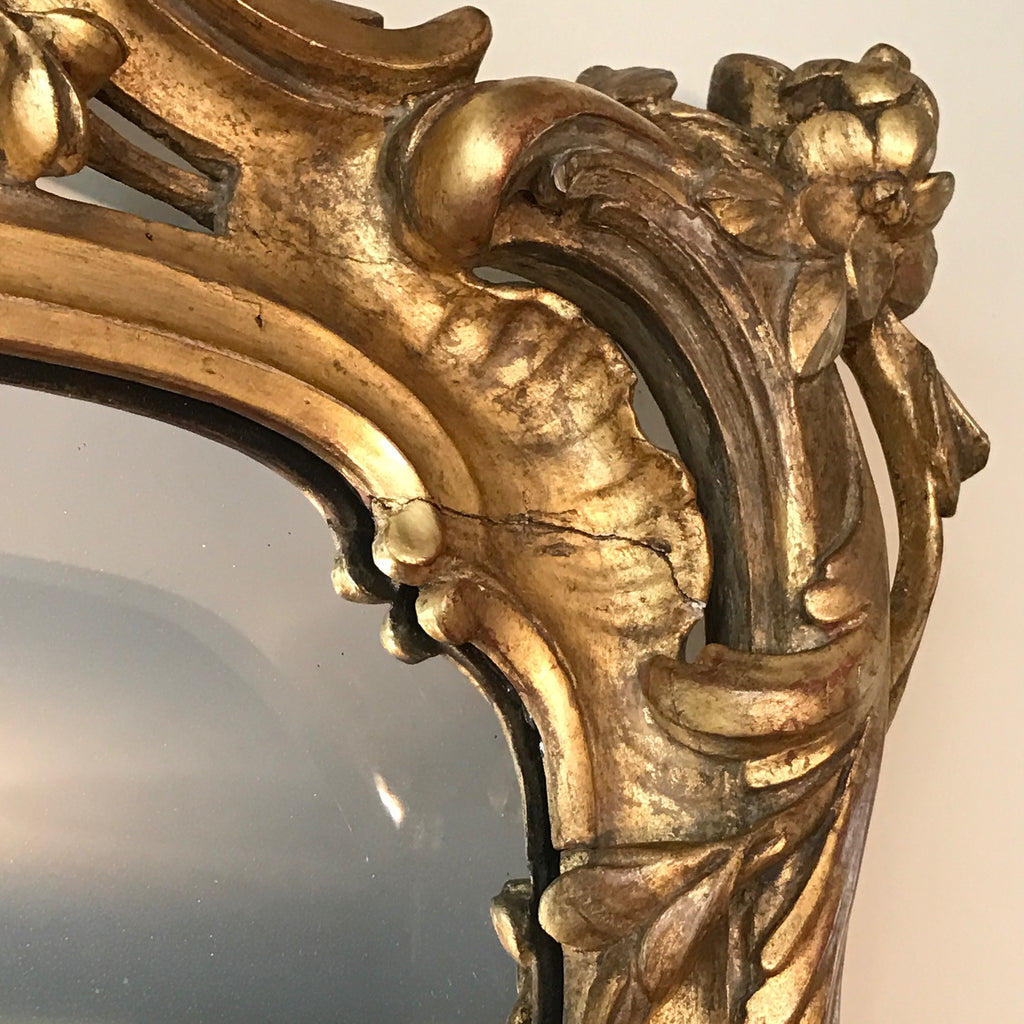 18th Century Carved Giltwood Mirror - Frame Detail View - 6