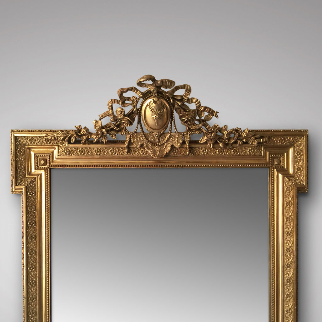 19th Century French Mirror - Detail of Top of Mirror & Pediment - 2